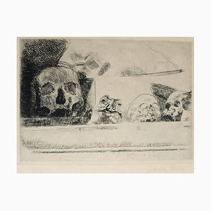 Skulls and Masks - Original Etching by James Ensor - 1888 1888