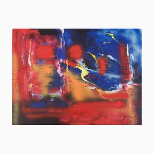Red and Blue Composition - Acrylic on Plywood by M. Goeyens - 2000s 2000s