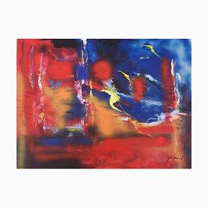 Zusammensetzung in Rot und Blau - Acryl auf Schichtholz von M. Goeyens - 2000er 2000er