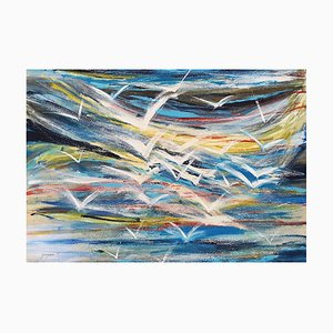 Flying Seagulls - Acrylic on Plywood by M. Goeyens - 2000s 2000s
