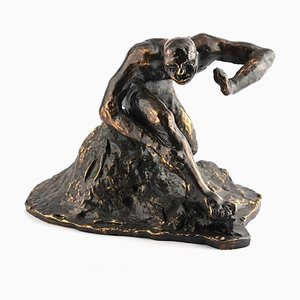 Man on the Rock - Original Bronze Sculpture by G. Migneco - Late 1900 Late 1900