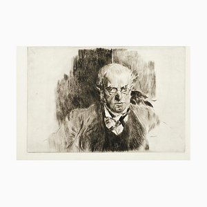 Retrato de Adolph Menzel - Grabado Original de Giovanni Boldini - 1897 1897