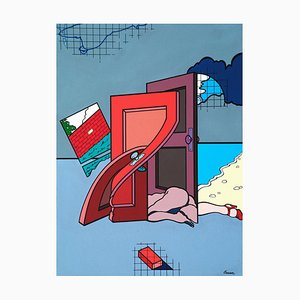 Femme / Portes - Acrylique sur Toile par J. Carruana - 1977