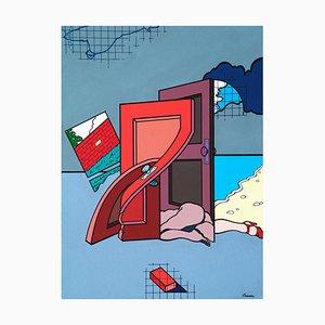 Woman/Doors - Acrylic on Canvas by J. Carruana - 1977