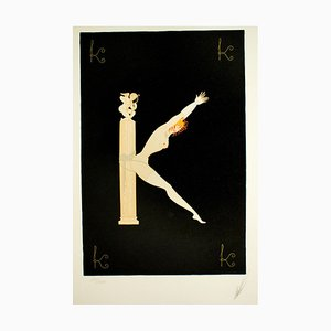 Letter ''K'' - Original Lithograph and Screen Print by Erté - 1976 1976