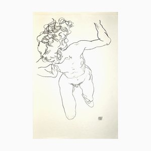 Lying Nude of Woman - Original Collotype Print After Egon Schiele - 1920 1920