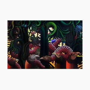 Precencia Magica de una Serpiente - Acrylique sur Toile par H. Bermudez - 1985 1985