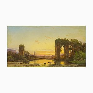 Tiber Landscape With Ancient Ruins - Oil Painting by Hermann Corrodi, Late 1800 Late 19th Century