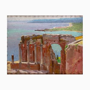 View of Taormina - Oil on Board by E. Tani - 1930s 1930s