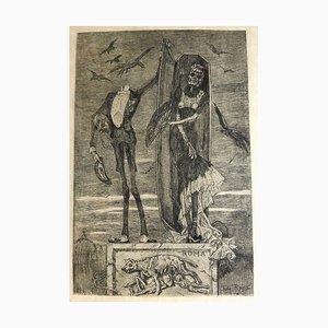 Acquaforte Le Vice Supreme - Original Incisione di Félicien Rops - 1883 1883