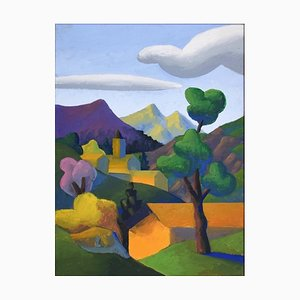 The Valley - Original Oil on Canvas by Salvo - Late 20th Century Late 20th Century