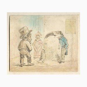 L'amour Croise des Race - Aquarell und Tinte Zeichnung von JJ Grandville - 1833 1833