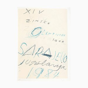 Untitled - Sarayevo Winter Olympic Games - Original Mixed Media by Twombly 1984 1984