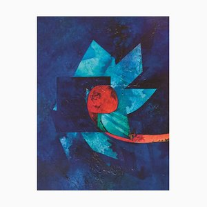 Fleur de Nuit - Huile sur Toile par Gianni Dova - 1970s 1970s
