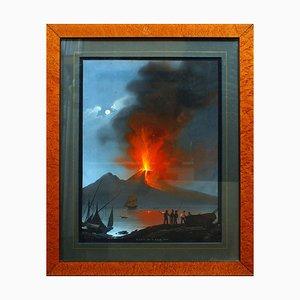 Eruption of Vesuvium - Original Gouache by C. De Vito - 1839 1839