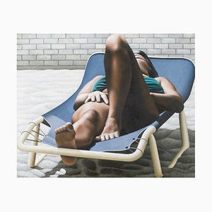 Woman Sunbathing - Oil on Canvas by A. Titonel - 1975 1975