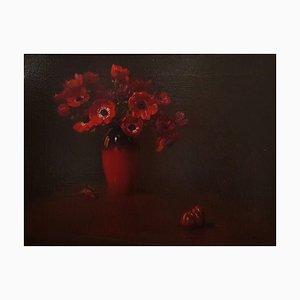 Vaso di Anemoni (Red Anemones) - 1910s - Arturo Noci - Painting - Modern 1912