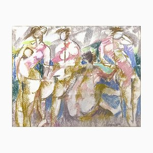 Bathers - Original Pencil and Pastel Drawing by F. Pirandello - 1960s 1960s