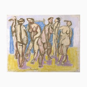 Bathers - Original Pencil and Pastel Drawing by F. Pirandello - 1971 1971
