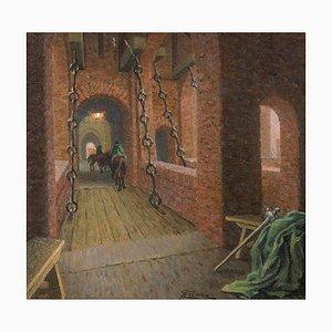 Drawbridge over the Estense Castl - Original Oil on Board by G. B. Crema - 1920s 1920s