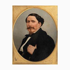 Portrait of a Man - Original Öl auf Leinwand von M. Gordigiani - Mitte 19. Jahrhundert Mitte 19. Jahrhundert