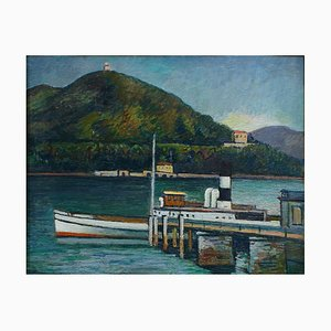 Bootssteg am Iseo See - Original Öl auf Holz von P. Marussig - 1928/30 1928/30