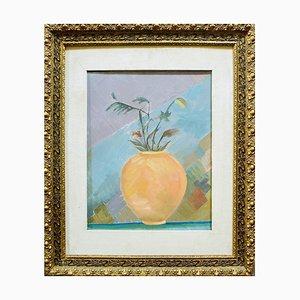 Amphore avec Fleurs - Huile sur Toile par R. Melli - 1945