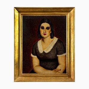Portrait of Woman - Öl auf Schichtholz von Domenico Cantatore - um 1920 Ca. 1920