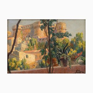 Castle on the Lake of Bracciano - Original Oil on Board by G. B. Crema - 1920s 1920s