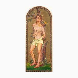 Saint Sebastian - Original Öl auf Leinwand von Französischer Künstler 20. Jahrhundert 20. Jahrhundert