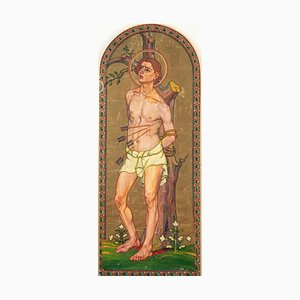 Saint Sebastian - Original Oil on Canvas by French Artist 20th Century 20th Century
