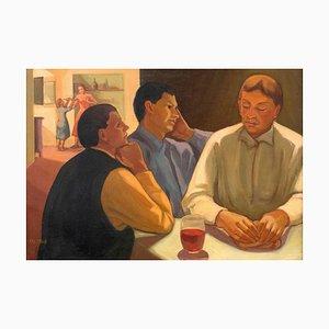 Cena en Emmaus - Óleo sobre lienzo original de Isabella Marullo - Finales de 1900 Finales del siglo XX