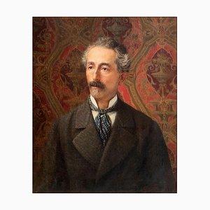Retrato de un hombre - Óleo sobre lienzo original de G. Bocchetti - Mid-Century Mid-Century 1900
