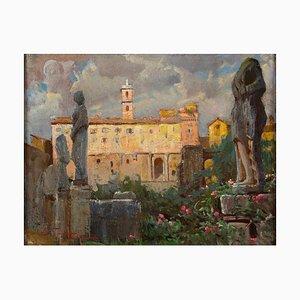 Ansicht des Kapitols (Rom) - Öl auf Karton von E. Tani - 1930er Jahre