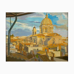 View of Church of the Fiorentini - Oil on Canvas by A. Urbano del Fabbretto 1930