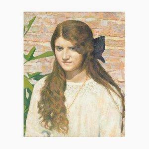 Female Portrait - Original Öl auf Leinwand von G. Galli - 1924 1924