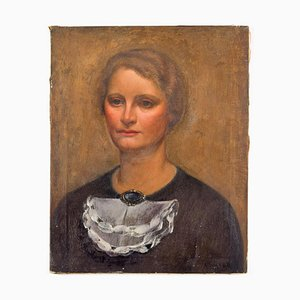 Portrait of Lady - Original Oil on Canvas by Carlo Socrate - 1930 1930