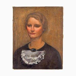 Retrato de una dama - Óleo sobre lienzo original de Carlo Socrate - 1930 1930
