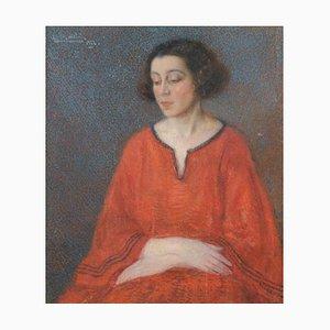 Retrato femenino - óleo sobre lienzo de E. Bertolé - 1922 1922