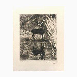 Acquaforte di Marc Chagall - 1952 1952 Le Cerf se Voyant dans l'Eau