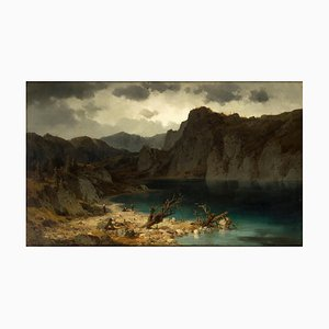 View of the Bergsee - Oil on Canvas by Josef Brunner - Mid 19th Century Mid 19th Century