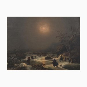 Northern Nocturnal Landscape - Oil on Canvas by J.F. Hesse - Mid 19th Century Mid 19th Century