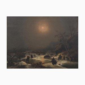 Paisaje nocturno norteño - Óleo sobre lienzo de JF Hesse - Mid-Century Mid-Century, siglo XIX