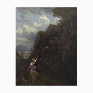 The Climbing - Öl auf Leinwand Schule Düsseldorf -19. Jahrhundert 19. Jahrhundert