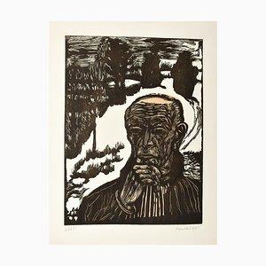 Gravure sur bois d'une Autoportrait, Selbstbildnis 1965