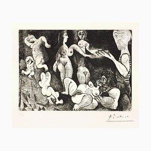 Marin Réveur avec Deux Femmes - Original Radierung von P. Picasso - 1970 1970