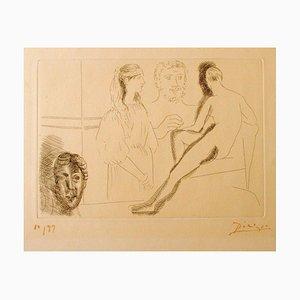 Gravure Sculpture Devant sa Sculpture- Original par P. Picasso - 1927 1927