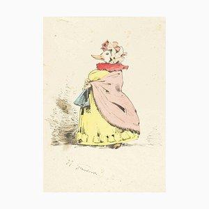 The Peeress - Original Ink Drawing and Watercolor by J.J. Grandville 1845 ca.