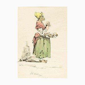 The Pedder - Original Tuschezeichnung und Aquarell von JJ Grandville um 1845