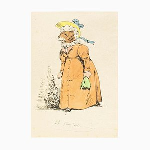 The Matriarch - Original Ink Drawing and Watercolor von JJ Grandville um 1845